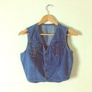 Tops - Vintage 1970s Blue Denim Vest